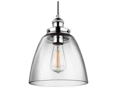 Feiss Baskin Polished Nickel 9'' Wide Mini-Pendant with Clear Glass Shade FEIP1349PN