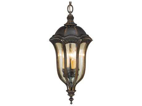 Feiss Baton Rouge Walnut Four-Light 13'' Wide Outdoor Hanging Pendant Light with Gold Luster Tinted Glass Shade FEIOL6012WAL