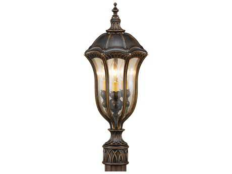 Feiss Baton Rouge Walnut Three-Light 10'' Wide Outdoor Post Mount Light with Gold Luster Tinted Glass Shade