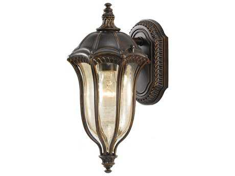 Feiss Baton Rouge Walnut 7.5'' Wide Edison Bulb Outdoor Wall Sconce with Gold Luster Tinted Glass Shade
