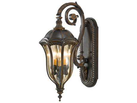 Feiss Baton Rouge Walnut Three-Light 9.5'' Wide Outdoor Wall Sconce with Gold Luster Tinted Glass Shade