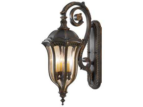 Feiss Baton Rouge Walnut Four-Light 12'' Wide Outdoor Wall Sconce with Gold Luster Tinted Glass Shade