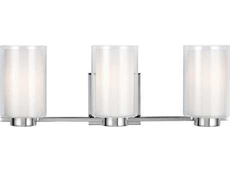 Feiss Bergin Chrome Three-Light 21.5'' Wide Vanity Light with Clear Glass Shade FEIVS22603CH