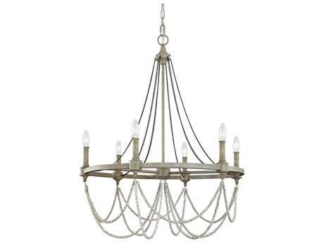 Feiss Beverly French Washed Oak / Distressed White Wood Six-Light 28'' Wide Chandelier FEIF31326FWODWW
