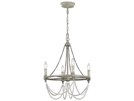 Feiss Beverly French Washed Oak / Distressed White Wood 18'' Wide Mini Chandelier