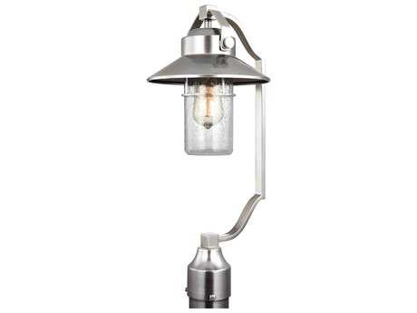 Feiss Boynton Painted Brushed Steel One-Light 9'' Wide Edison Outdoor Post Latern