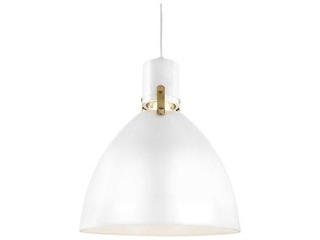Feiss Brynne Flat White / Chrome One-Light 14'' Wide LED Pendant Light FEIP1442FWHL1