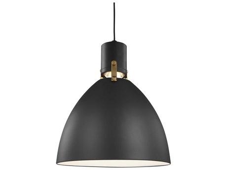 Feiss Brynne Matte Black / Chrome One-Light 14'' Wide LED Pendant Light FEIP1442MBL1