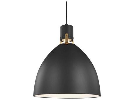 Feiss Brynne Matte Black / Chrome One-Light 16.5'' Wide LED Pendant Light FEIP1443MBL1