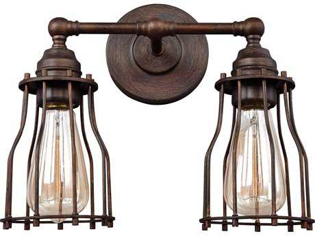 Feiss Calgary Parisian Bronze Two-Light 12.75'' Wide Edison Vanity Light