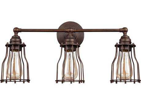 Feiss Calgary Parisian Bronze Three-Light 22'' Wide Edison Vanity Light