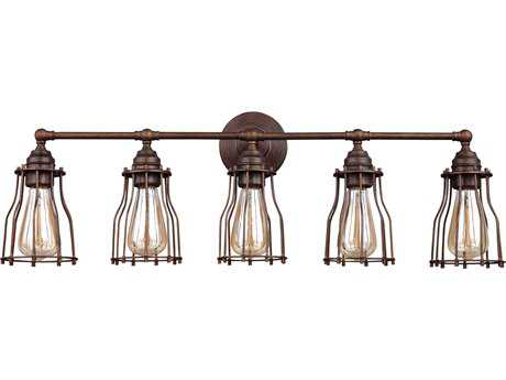 Feiss Calgary Parisian Bronze Five-Light 32.5'' Wide Edison Vanity Light