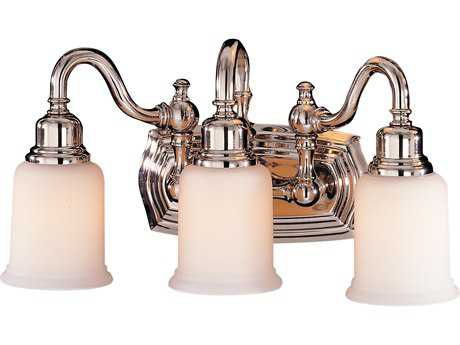 Feiss Canterbury Polished Nickel Three-Light 18.5'' Wide Vanity Light with Opal White Etched Glass Shade FEIVS8003PN