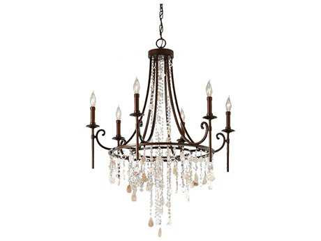 Feiss Cascade Heritage Bronze 28.25'' Wide Six-Light Chandelier FEIF26606HTBZ