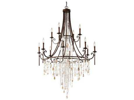 Feiss Cascade Heritage Bronze 36.5'' Wide 12-Light Chandelier FEIF266184HTBZ