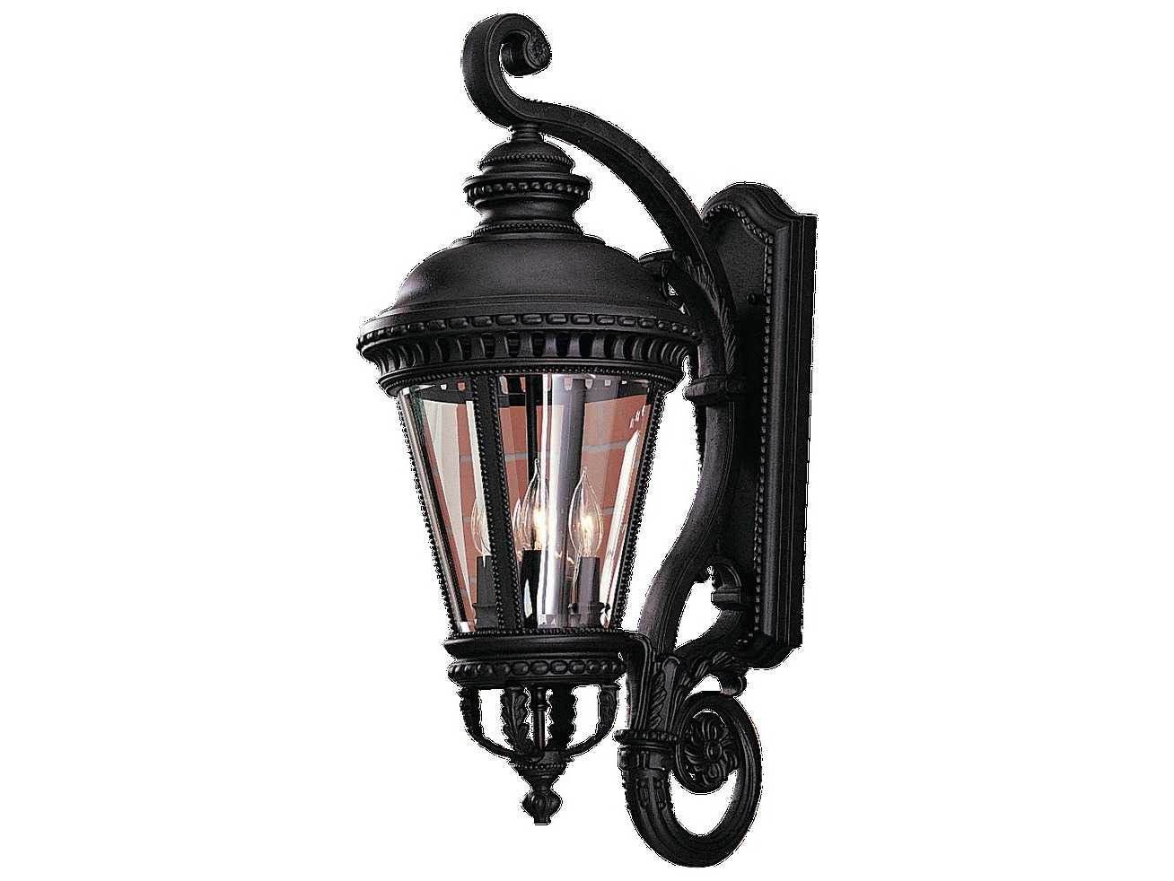 Progress Lighting Archie Collection 26 25 In 3 Light: Feiss Castle Black Four-Light Outdoor Wall Light