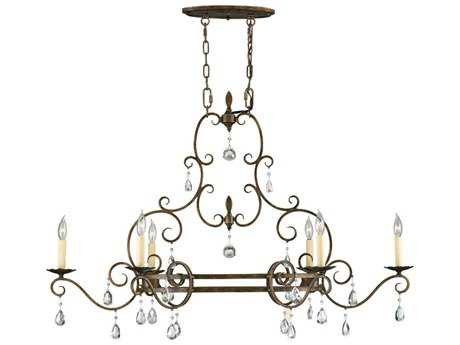Feiss Chateau Mocha Bronze Six-Light Island Light FEIF23046MBZ