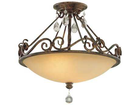 Feiss Chateau Mocha Bronze Two-Light 15.5'' Wide Semi-Flush Mount with Antique Excavation Glass Shade FEISF190MBZ