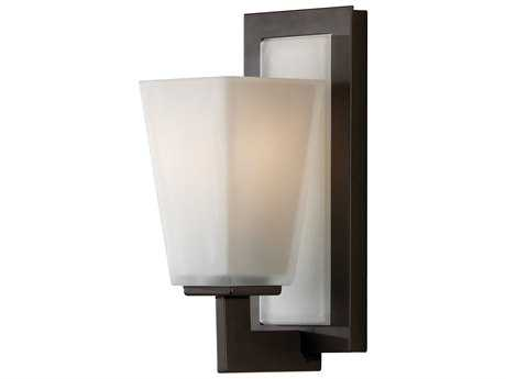 Feiss Clayton Oil Rubbed Bronze 4.5'' Wide Vanity Light with White Opal Etched Glass Shade FEIVS16601ORB