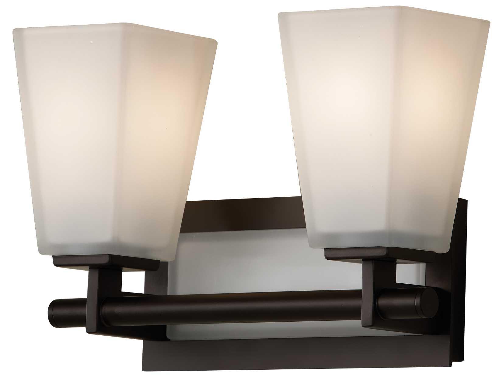 Feiss Bristol 2 Light Vanity Fixture In Oil Rubbed Bronze: Feiss Clayton Oil Rubbed Bronze Two-Light 13'' Wide Vanity