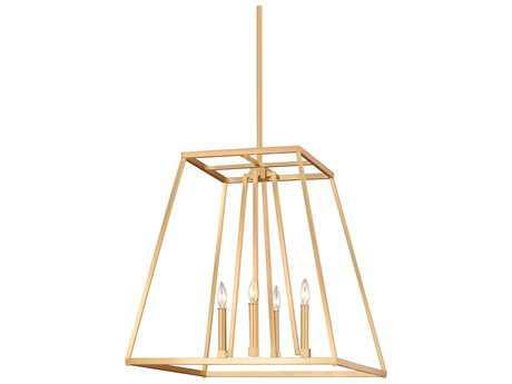 Feiss Conant Gilded Satin Brass Four-Light 23'' Wide Mini-Chandelier FEIF31514GSB