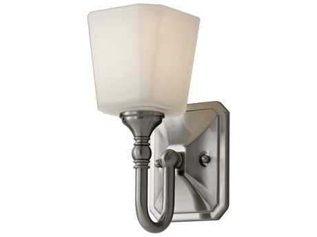 Feiss Concord Brushed Steel 4.63'' Wide Vanity Light with White Opal Etched Glass Shade FEIVS19701BS