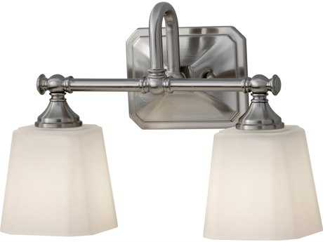 Feiss Concord Brushed Steel Two-Light 14'' Wide Vanity Light with White Opal Etched Glass Shade FEIVS19702BS