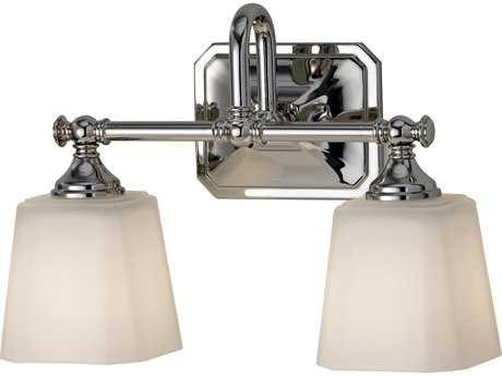 Feiss Concord Polished Nickel Two-Light 14'' Wide Vanity Light with White Opal Etched Glass Shade FEIVS19702PN