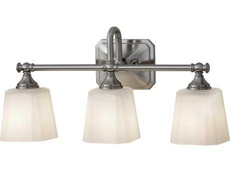 Feiss Concord Brushed Steel Three-Light 21'' Wide Vanity Light with White Opal Etched Glass Shade FEIVS19703BS