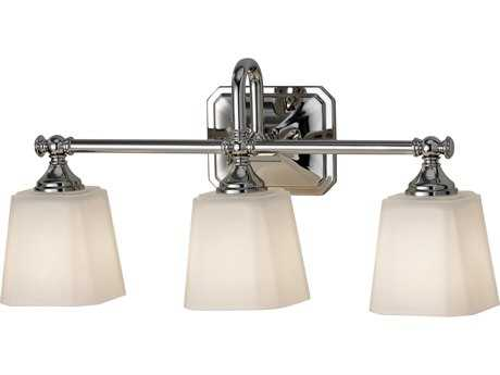 Feiss Concord Polished Nickel Three-Light 21'' Wide Vanity Light with White Opal Etched Glass Shade FEIVS19703PN