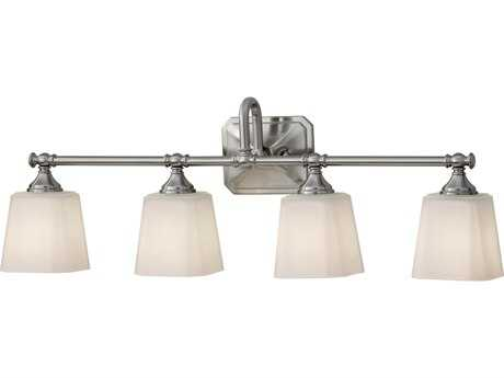 Feiss Concord Brushed Steel Four-Light 30'' Wide Vanity Light with White Opal Etched Glass Shade FEIVS19704BS