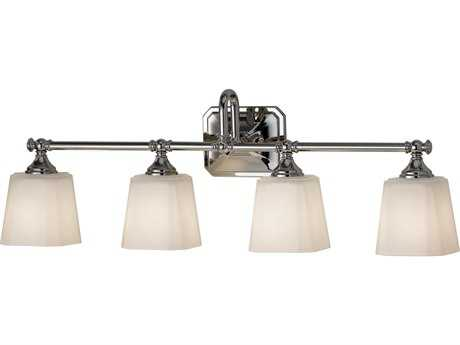 Feiss Concord Polished Nickel Four-Light 30'' Wide Vanity Light with White Opal Etched Glass Shade FEIVS19704PN