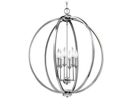 Feiss Corinne Polished Nickel Six-Light Pendant Light FEIF30616PN