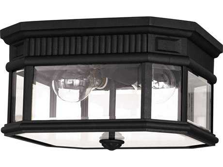 Feiss Cotswold Lane Black Two-Light 7'' Wide Edison Bulb Outdoor Flush Mount Light with Clear Beveled Glass Shade