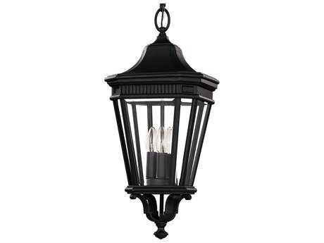 Feiss Cotswold Lane Black Three-Light 9.5'' Wide Outdoor Hanging Pendant Light with Clear Beveled Glass Shade