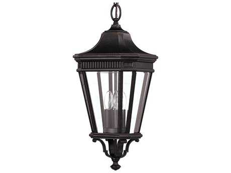 Feiss Cotswold Lane Grecian Bronze Three-Light 9.5'' Wide Outdoor Hanging Pendant Light with Clear Beveled Glass Shade