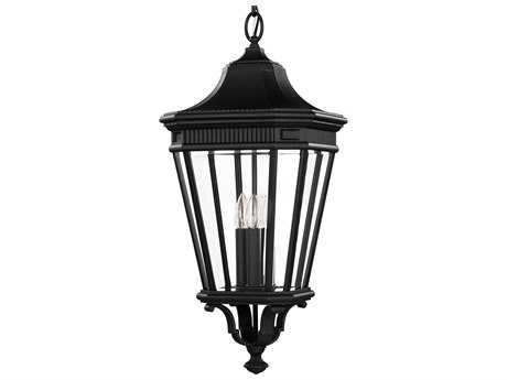 Feiss Cotswold Lane Black Three-Light 12'' Wide Outdoor Hanging Pendant Light with Clear Beveled Glass Shade