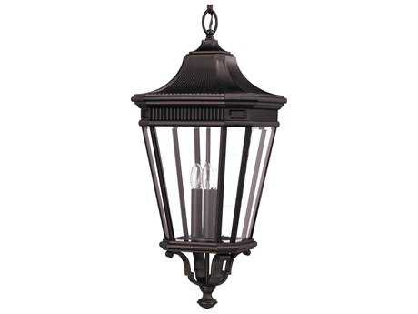 Feiss Cotswold Lane Grecian Bronze Three-Light 12'' Wide Outdoor Hanging Pendant Light with Clear Beveled Glass Shade