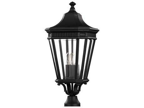 Feiss Cotswold Lane Black Three-Light 9.5'' Wide Outdoor Post Mount Light with Clear Beveled Glass Shade FEIOL5407BK