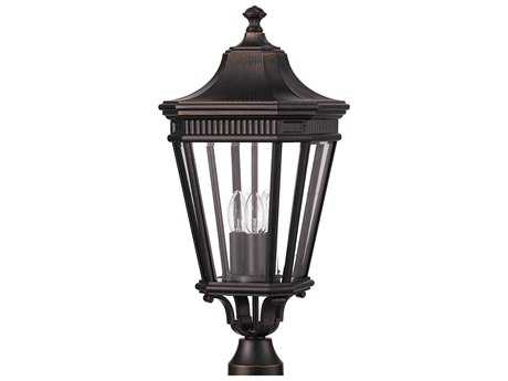 Feiss Cotswold Lane Grecian Bronze Three-Light 9.5'' Wide Outdoor Post Mount Light with Clear Beveled Glass Shade FEIOL5407GBZ