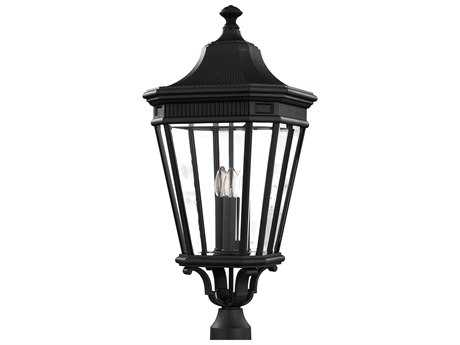 Feiss Cotswold Lane Black Three-Light 12'' Wide Outdoor Post Mount Light with Clear Beveled Glass Shade