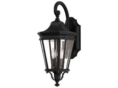 Feiss Cotswold Lane Black Two-Light 9'' Wide Outdoor Wall Sconce with Clear Beveled Glass Shade FEIOL5401BK