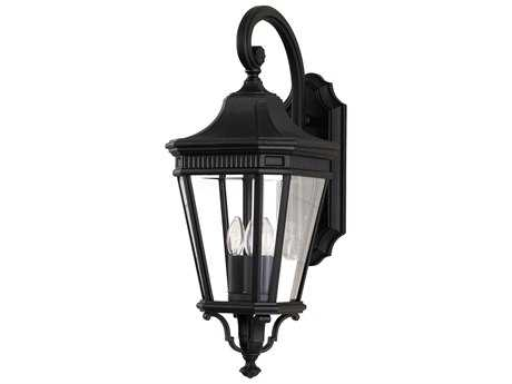 Feiss Cotswold Lane Black Three-Light 9.5'' Wide Outdoor Wall Sconce with Clear Beveled Glass Shade FEIOL5402BK