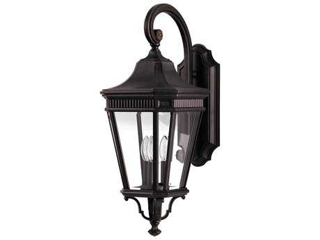 Feiss Cotswold Lane Grecian Bronze Three-Light 9.5'' Wide Outdoor Wall Sconce with Clear Beveled Glass Shade FEIOL5402GBZ