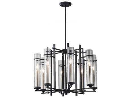 Feiss Ethan Antique Forged Iron & Brushed Steel 26'' Wide Eight-Light Chandelier FEIF26288AFBS