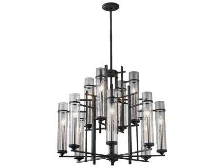 Feiss Ethan Antique Forged Iron & Brushed Steel 30'' Wide 12-Light Chandelier FEIF262984AFBS