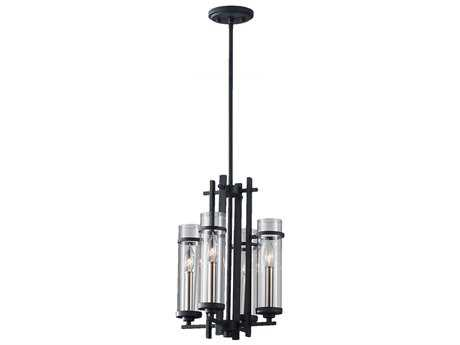 Feiss Ethan Antique Forged Iron & Brushed Steel 12'' Wide Four-Light Mini-Chandelier FEIF26274AFBS