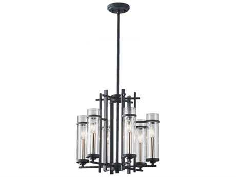 Feiss Ethan Antique Forged Iron & Brushed Steel 18'' Wide Six-Light Mini-Chandelier FEIF26316AFBS