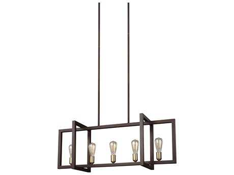 Feiss Finnegan New World Bronze Five-Light 12'' Wide Edison Island Light FEIF31475NWB
