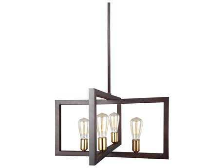 Feiss Finnegan New World Bronze Four-Light 23.5'' Wide Edison Mini-Chandelier